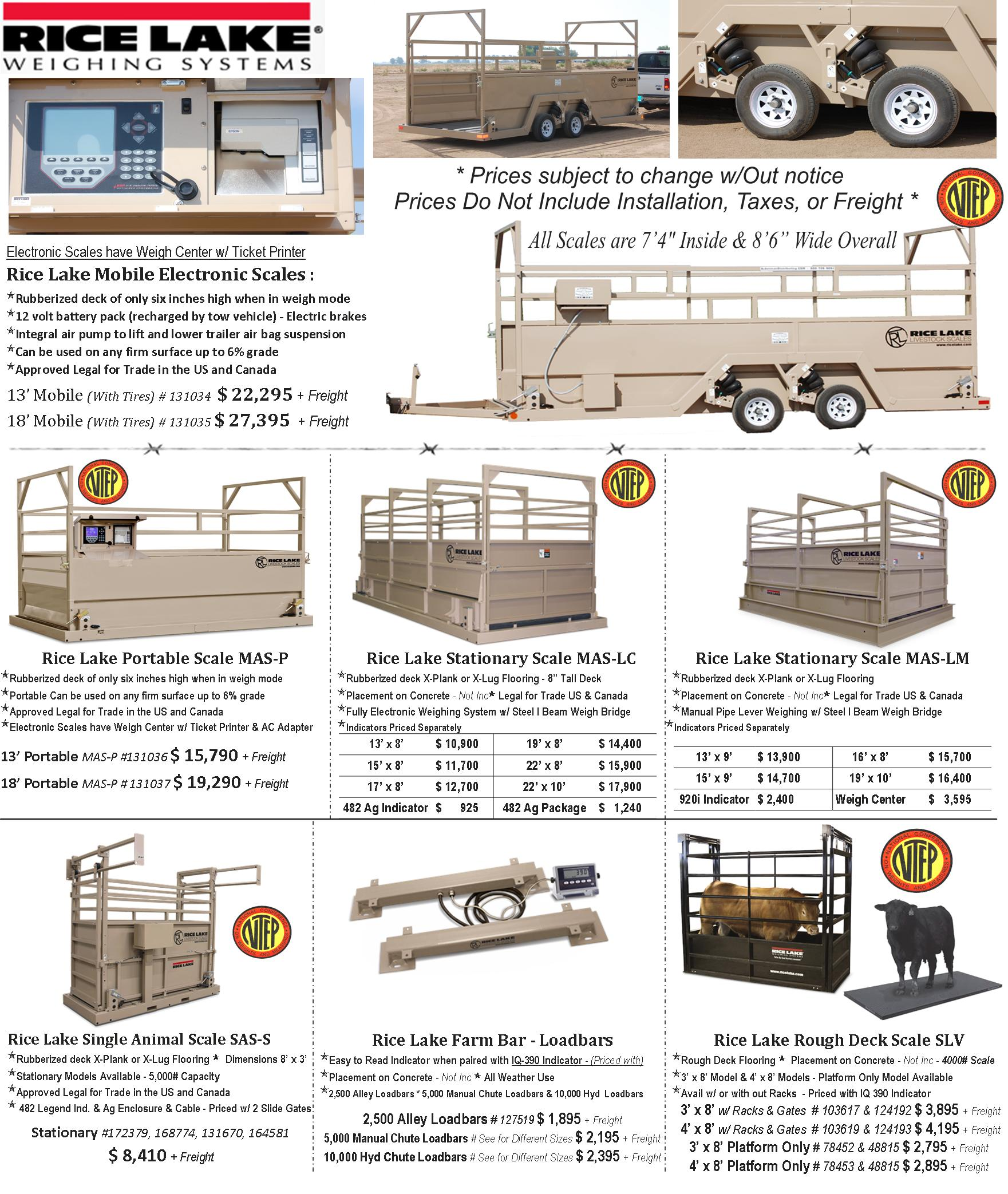 Rice Lake Mobile Group Livestock Scales - Portable on Wheels - Legal for Trade INTEP APPROVED  !