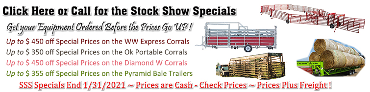 Click Here or Call for the Stock Show Specials