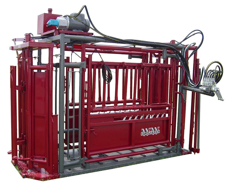 Stampede Steel Hydraulic Chute for Cattle by WW Manufacturing