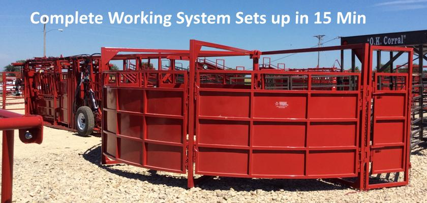 Portable Hydraulic Cattle Working Chute, Double Alley with Tub