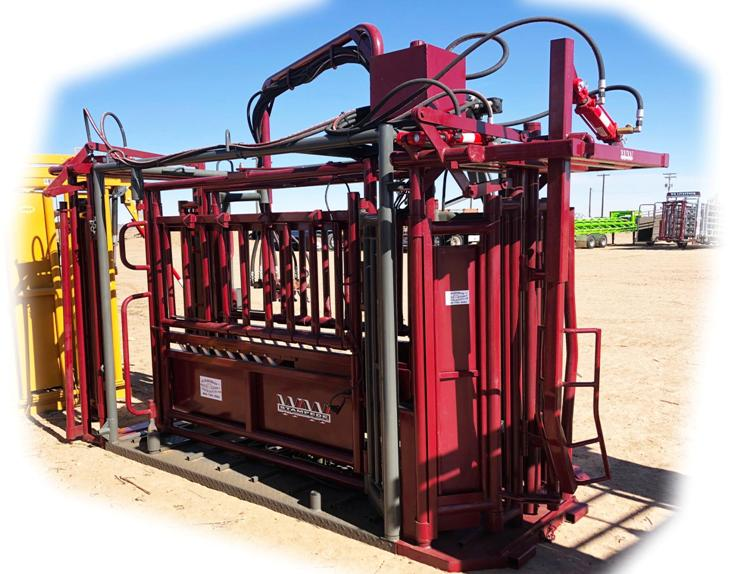 Stampede Steel Double Side Exit Hydraulic Cattle Chute with Swing Arm, & Head Bender, 220V Elec